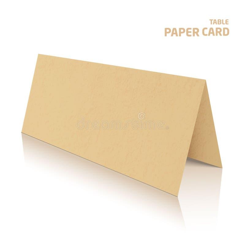 3d桌在灰色背景隔绝的papercraft卡片 库存例证