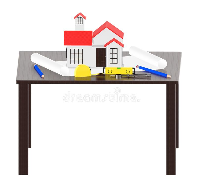 3d桌,微型家的计划-分切器-测量的磁带 库存例证