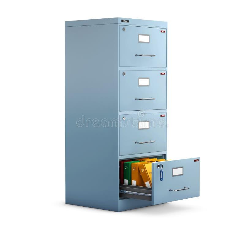 3d档案橱柜的例证有的在一个开放抽屉的文件夹 向量例证