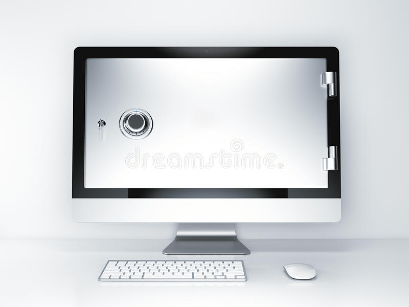 3d概念互联网翻译证券 有安全门的显示器屏幕 3d翻译 皇族释放例证
