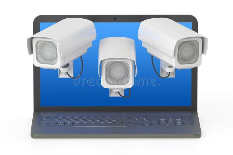 3d概念互联网翻译证券 膝上型计算机和CCTV, 3D翻译 库存例证