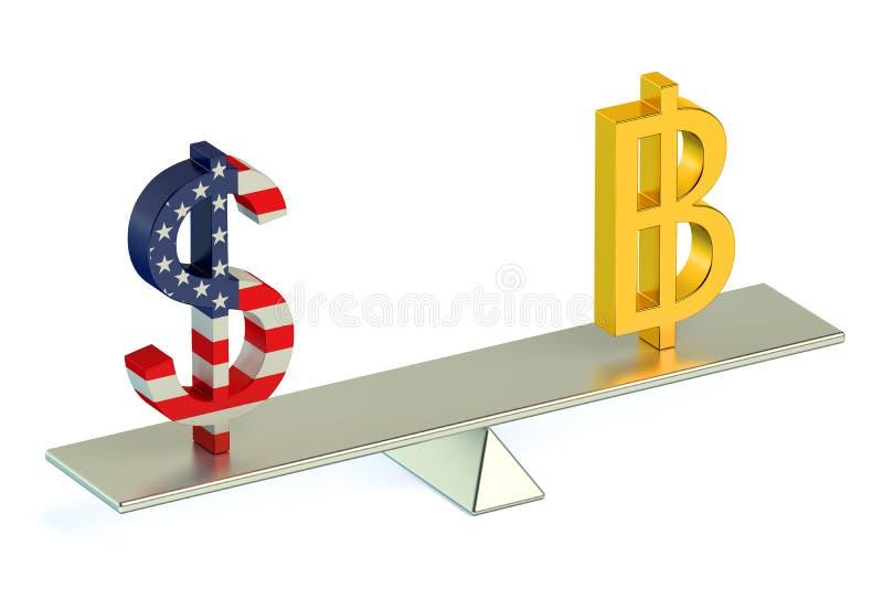 3D概念美元或Bitcoin, USD BTC货币对 向量例证