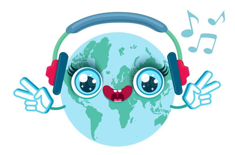 3d概念详述地球耳机高音乐向量世界 向量例证