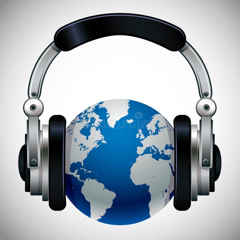 3d概念详述地球耳机高音乐向量世界 皇族释放例证
