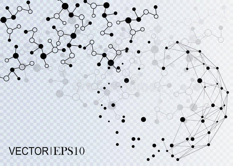 3d概念连接数齿轮机构 企业或科学介绍的几何传染媒介背景 皇族释放例证