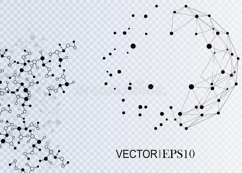 3d概念连接数齿轮机构 企业或科学介绍的几何传染媒介背景 向量例证