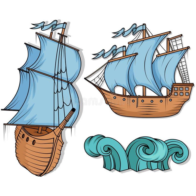 3d横向帆船日落 货物减速火箭的船 3d横向帆船日落 库存例证