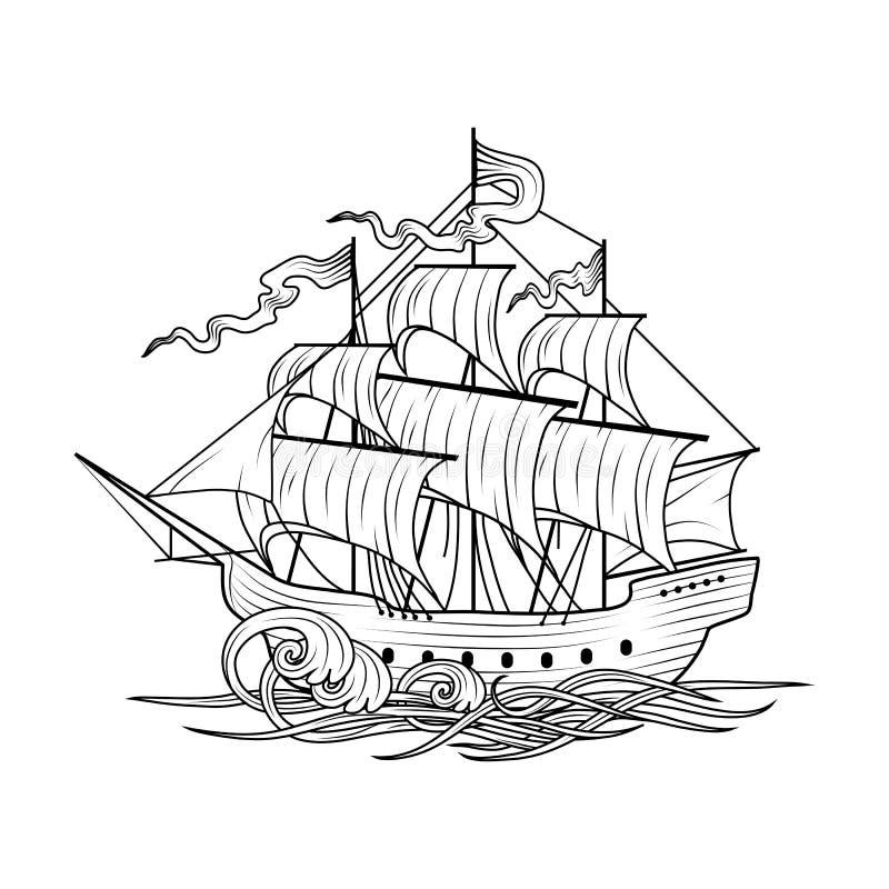 3d横向帆船日落 向量例证