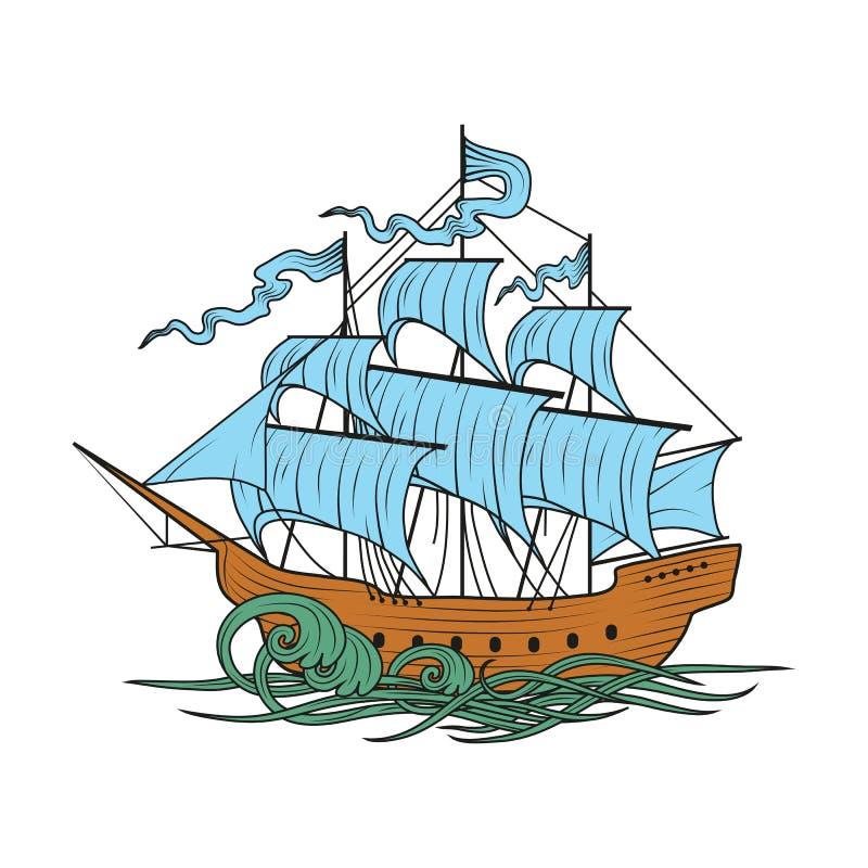 3d横向帆船日落 库存例证
