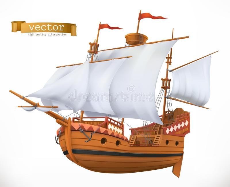3d横向帆船日落 3d图标向量 库存例证
