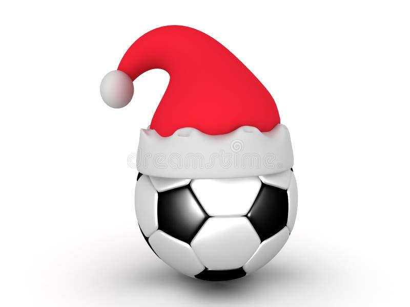 3D橄榄球与圣诞老人帽子的足球的例证 库存例证