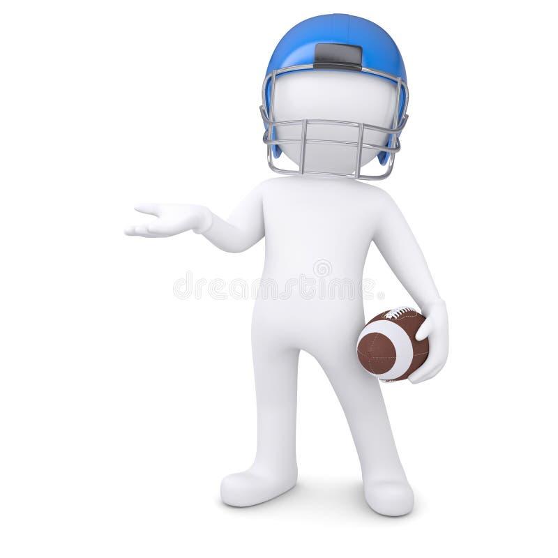 3d橄榄球盔的人握一只空的手 库存例证