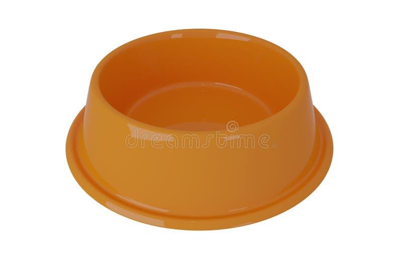 3D橙色狗碗的翻译在白色的 皇族释放例证