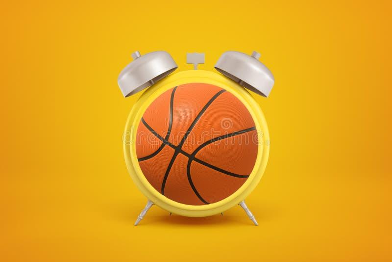 3d橙色篮球翻译球形作为在黄色背景的闹钟 免版税库存照片