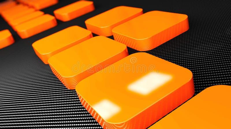 3d橙色金属和碳正方形背景 皇族释放例证