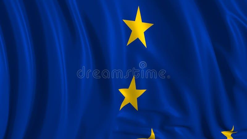 3d欧洲旗子的翻译 旗子在风顺利开发 库存例证