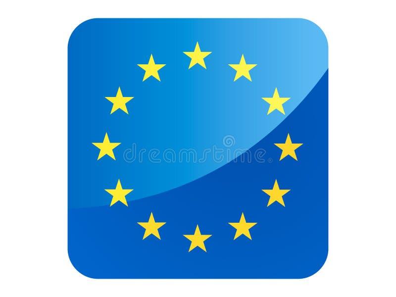 3D欧盟正方形旗子  库存例证