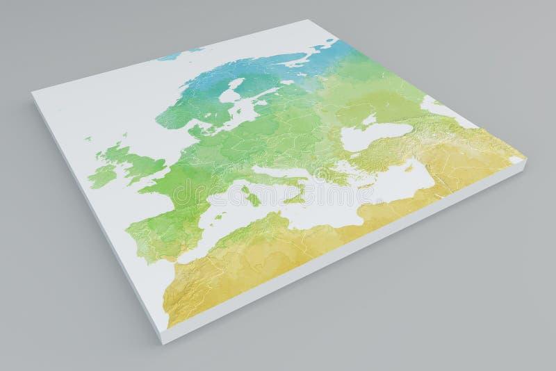 3d欧洲,地中海和中东部分地图  库存例证