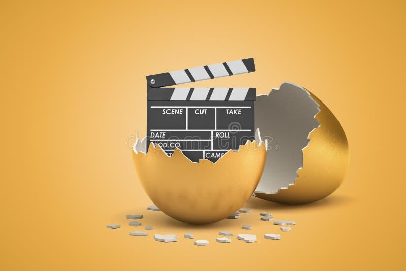 3d残破的金黄蛋壳翻译与电影拍板的里面在黄色背景 库存照片