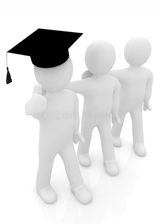 3d毕业盖帽的人有赞许的和3d在彼此附近供以人员立场胳膊 皇族释放例证