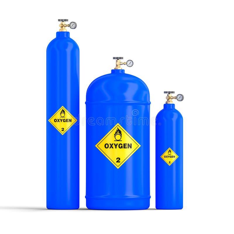 3d气体氧气瓶的图象 皇族释放例证