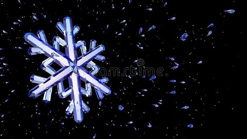 3d水晶雪花的图象反对黑背景的 皇族释放例证