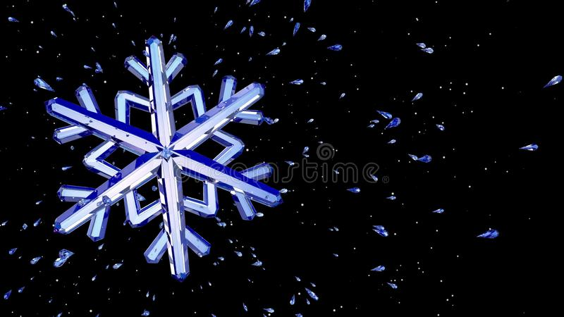 3d水晶雪花的图象反对黑背景的 向量例证