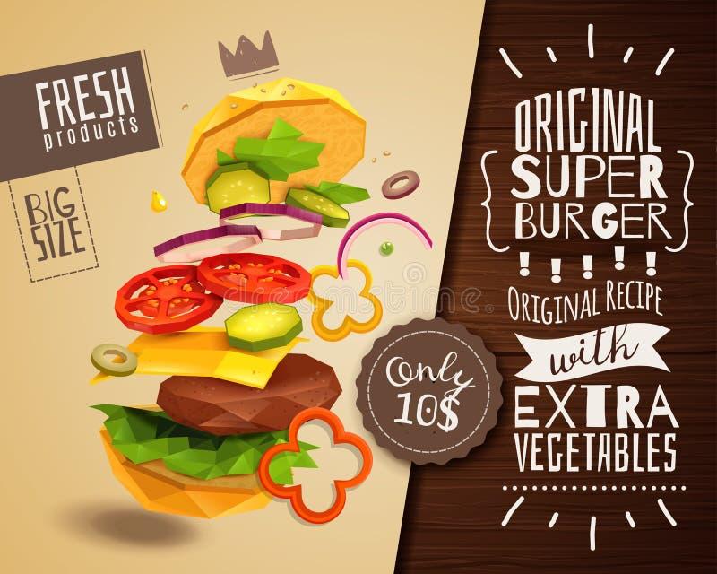 3D汉堡包水平的海报 皇族释放例证