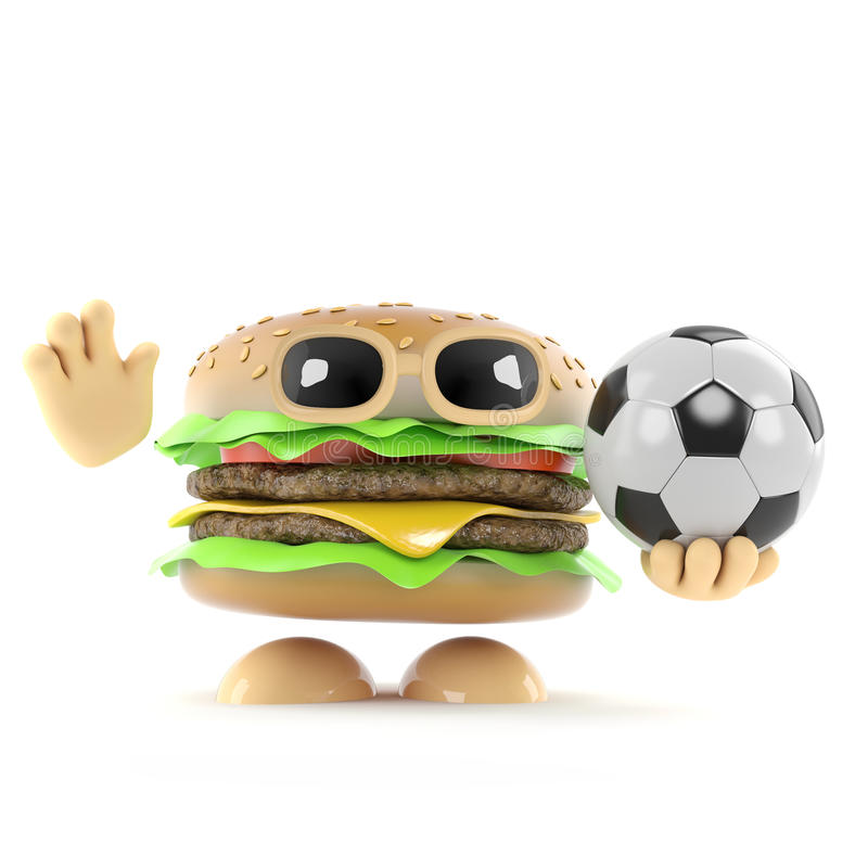 3d汉堡牛排踢橄榄球 皇族释放例证