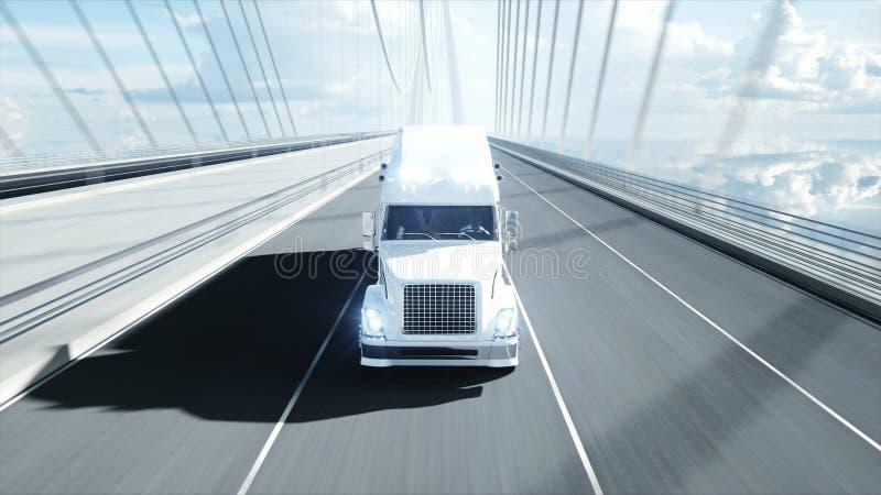 3d汽油罐车,拖车,在高速公路的卡车模型  非常快速驾驶 3d?? 库存例证