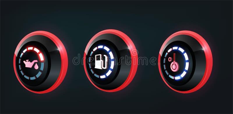 3D汽车仪表板盘区显示的传染媒介汇集,红色,蓝色显示 皇族释放例证