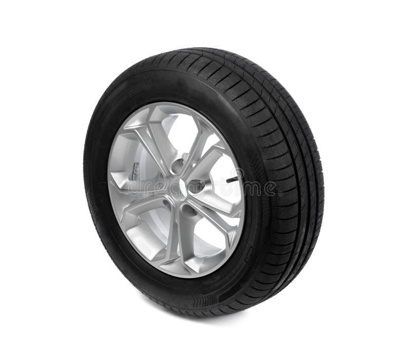 3d汽车例证查出的轮子白色 轮胎 免版税库存照片