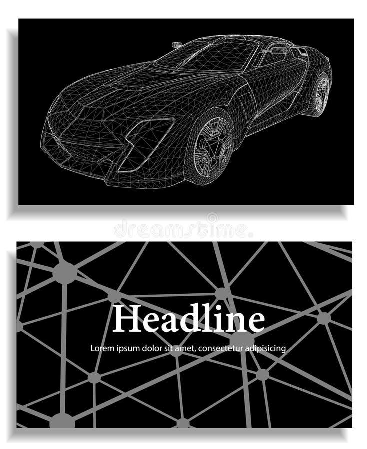 3d汽车模型抽象创造性的概念背景  汽车滤网炫耀向量 多角形设计样式信头和小册子busine的 向量例证