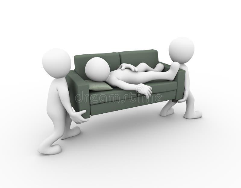 3d沙发的人运载的睡觉的人 向量例证
