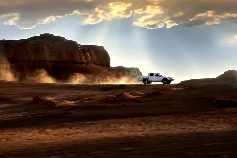 3d沙漠例证日落 美好的光和云彩 伊朗 克尔曼 Dasht-e Lut沙漠 免版税图库摄影