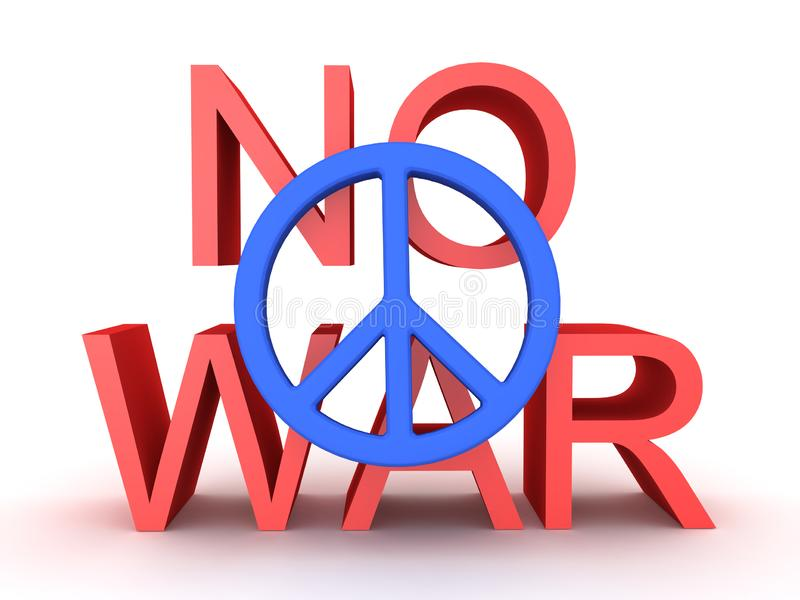 3D没有战争文本的翻译与在前面的和平标志 向量例证