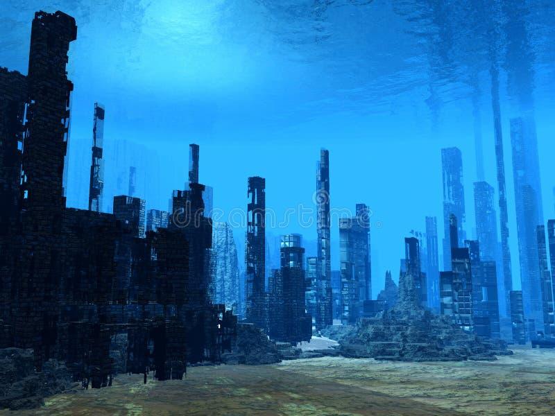 3D海底 向量例证