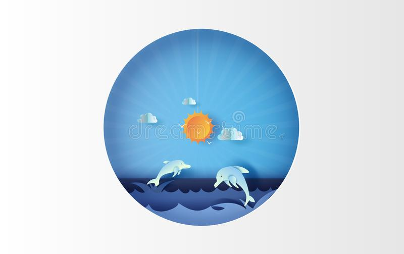 3D海景视图例证艺术与在海美丽视图的天空的跳跃的海豚生活 夏令时与蓝色的季节背景 皇族释放例证