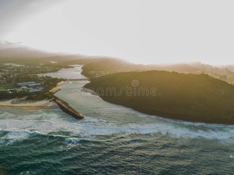 3d海洋回报日落 免版税库存照片
