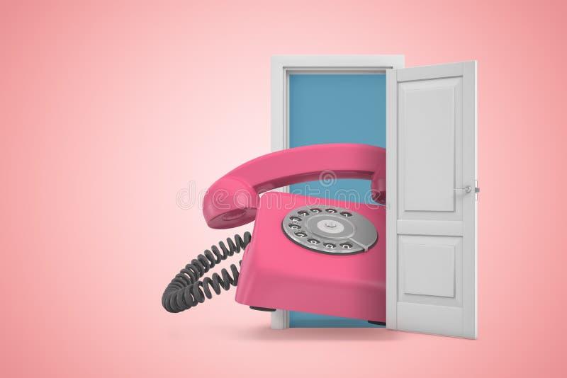 3d涌现从门户开放主义的巨大的桃红色减速火箭的输送路线电话翻译在桃红色梯度copyspace背景 向量例证