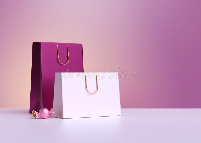 3d渲染 购物袋,粉红糖 商业背景、购物理念、空白模型 产品展示展示 复制空间 皇族释放例证