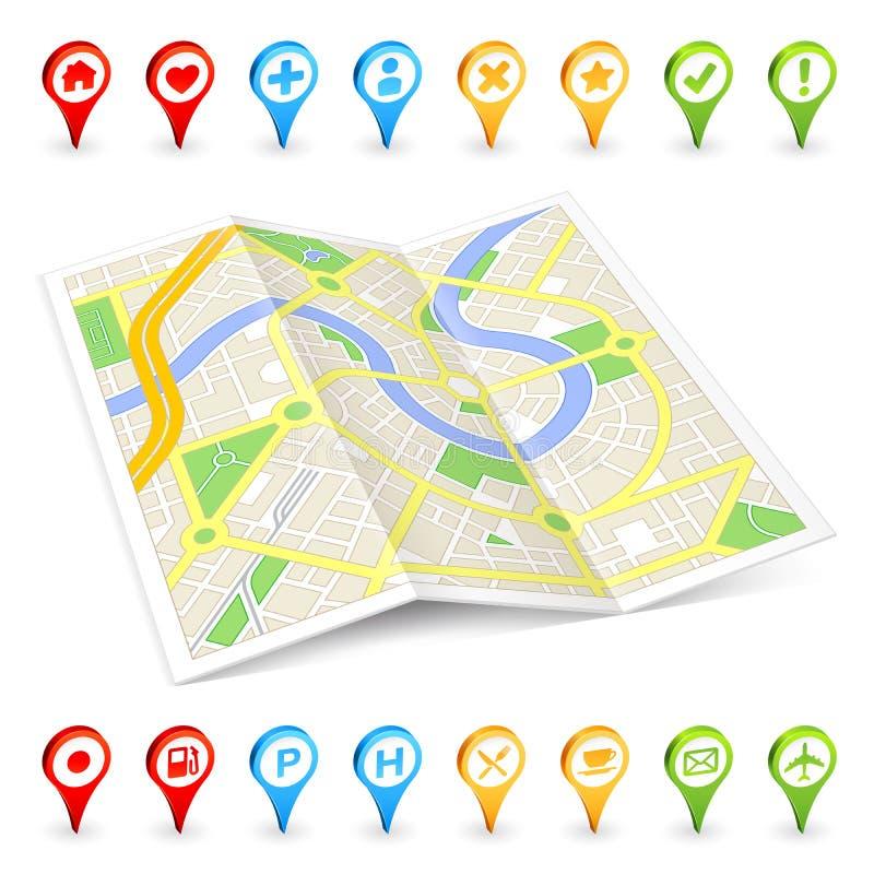 3D游人被折叠的Citymap 向量例证