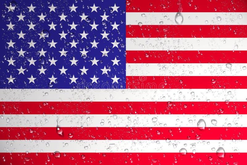 3D湿美国旗子翻译在飓风以后的 向量例证
