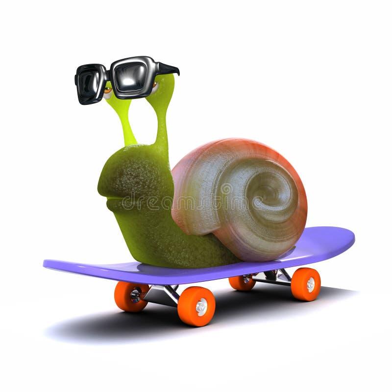 3d溜冰者蜗牛 皇族释放例证
