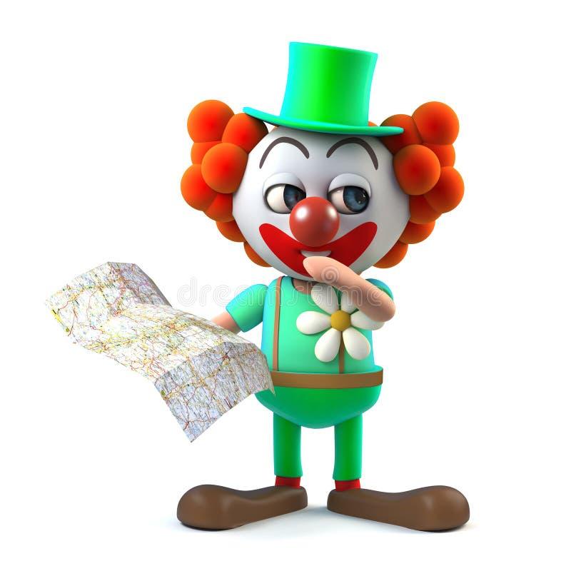 3d滑稽的丢失看地图的动画片疯狂的小丑字符 皇族释放例证