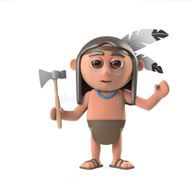3d滑稽的动画片当地美洲印第安人男孩字符挥动你好 皇族释放例证