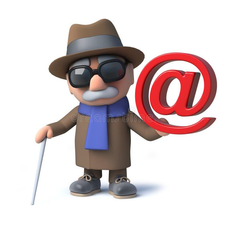3d滑稽的动画片盲人字符有一个电子邮件标志 库存例证