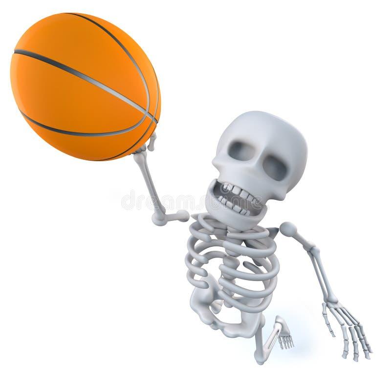 3d滑稽的动画片骨骼射击篮球 向量例证