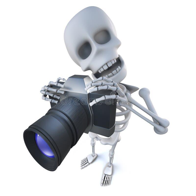 3d滑稽的拍与照相机的动画片鬼的最基本的字符一张照片 库存例证