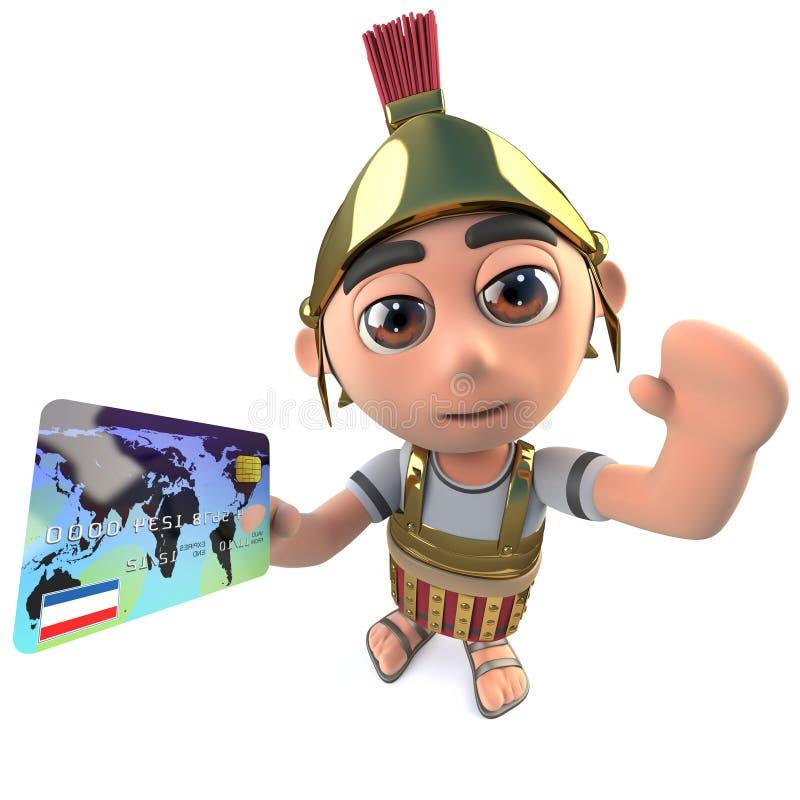 3d滑稽的拿着借方或信用卡的动画片罗马战士百人队队长字符 皇族释放例证